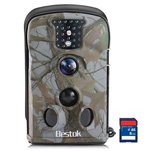 Bestok Wildkamera Fotofalle Full HD 12MP Jagdkamera Wasserdichte Gartenkamera mit Bewegungsmelder Vision Infrarote 20m Nachtsicht Überwachungskamera 8GB SD-Karte