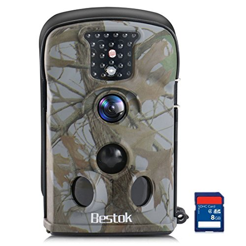 Bestok Cámara de Caza 12MP HD Cámara de Vigilancia Impermeable Invisible Visión Nocturna Hasta 20M IR LEDs Trail Cámara (5210A-8GB)