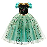 OBEEII Anna Frozen Costume Princess Elsa Snow Queen Dress Fancy Embroidery Dress Up for Girls Cosplay Show Christmas Carnival Birthday Party Easter Children's Day Gift 4-5 Years Green