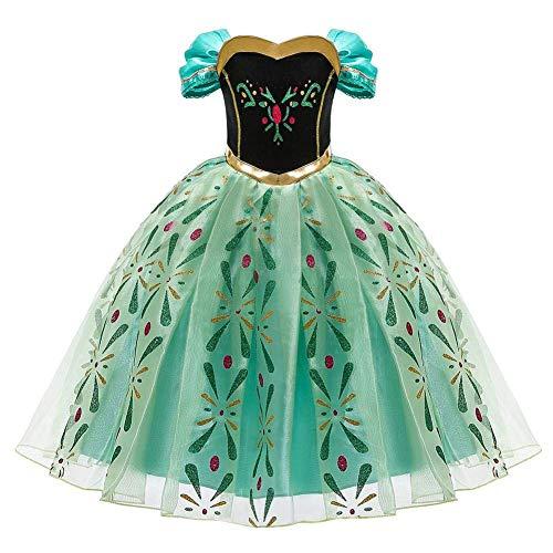FYMNSI - Disfraz de Anna de Frozen para niña, Vestido de Princesa, Cosplay, Carnaval, para Navidad, Halloween, Fiesta, cumpleaños, Vestido Largo de Noche, 2-10 años Verde 5-6 Años