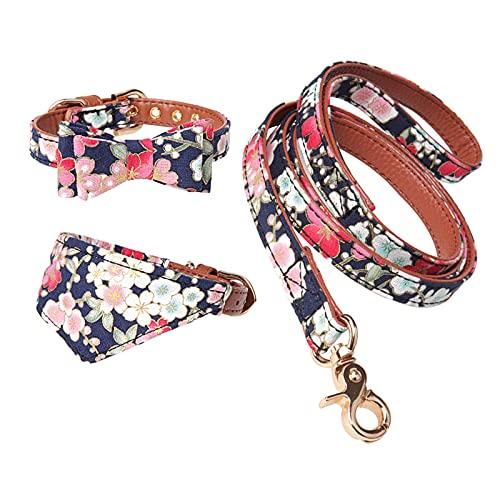 HACRAHO Collar de pajarita para perro con correa, juego de 3 piezas de pajarita floral para perro pequeño bandana y correa de piel ajustable para perros cachorros gatos caminando al aire libre, S