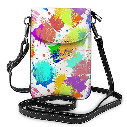 shenguang Phone WalletCrossbody Bag Color Watercolor Inkjets Leather Vertical Wild Coin Purse Crossbody Bags Small Crossbody Bag Shoulder Bag Forlady