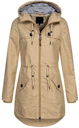 Top Fuel Fashion Damen Übergangs-Jacke Parka Aniko mit Kapuze beige L