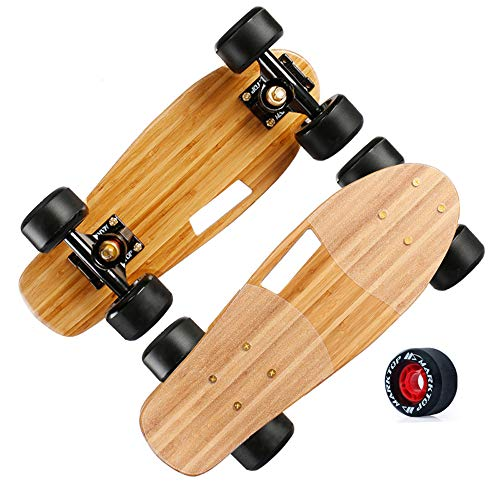 CuiCui 3-Lagiges Full Bamboo Board Skateboard Doppelwippe Kinder Longboard Truck Skateboard Deck Allrad Skateboard,A1