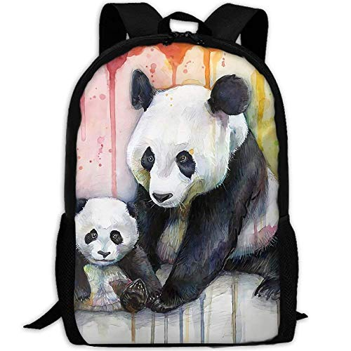 Deglogse School Backpack, Schoolbag Travel Bookbag, Mam and Baby Pandas in Rainbow Print Custom Casual School Bag Backpack Multipurpose Travel Daypack
