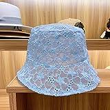 CXBH WOMENソフトレースフラワーのための新LACEハットつば広帽子日フロッピーサマーハットドレスレースレディースハット (色 : 青い)