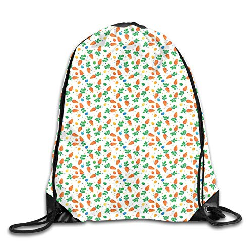 Fuliya Print Drawstring Backpack,Orange Carrots Colorful Eggs And Dots In Cartoon Style Fresh And Healthy Bunny Food,Beach Bag for Gym Shopping Sport Yoga