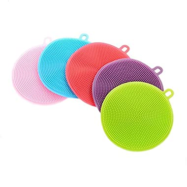 NUOMI Silicone Dish Sponge Washing Brush Scrubber 5 Pack Household Cleaning Sponges, Antibacterial Mildew-Free Brushes
