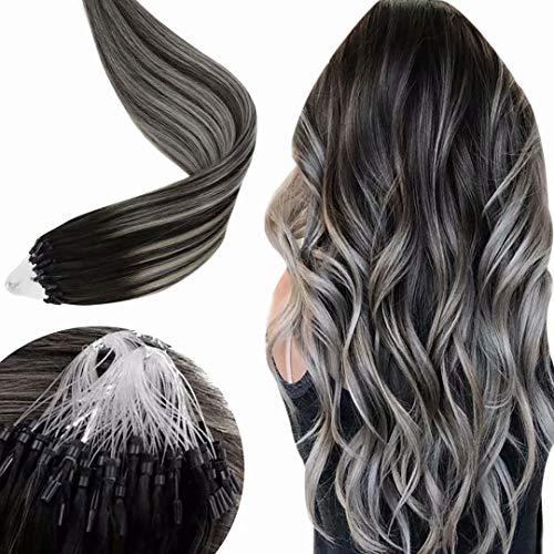 LaaVoo Remy Micro Ring Remy Human Hair Extensions Capelli Veri Nero con Silver Naturale Lisci Micro Loop Fusion Hair Liscio 50 Filo per Pacchetto 50g 14pollici/35cm