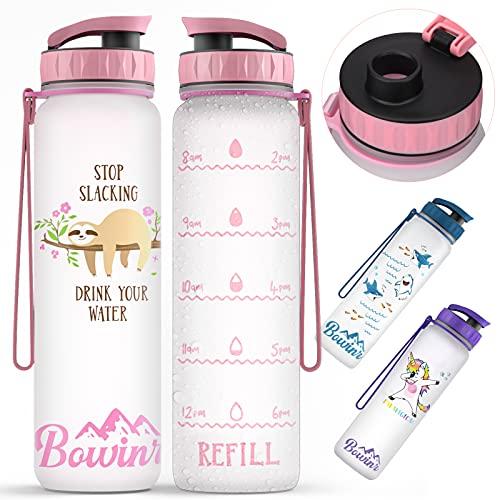 Trinkflasche 1l, BPA Frei Tritan Wasserflasche mit Zeitmarkierungen, Fahrradflasche Water Bottle, Sport Trinkflasche mit Filter, Auslaufsichere Sportflasche für Outdoor, Fitness, Schule Faultier olyee