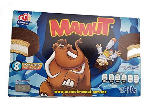 Gamesa Mamut. Irresistible Mexican Cookie/candy. Marshmallow Filled & Chocolate Cover. 1 box (8 individual pack). Great for lunch, camping, snack. Kids favorite snack.