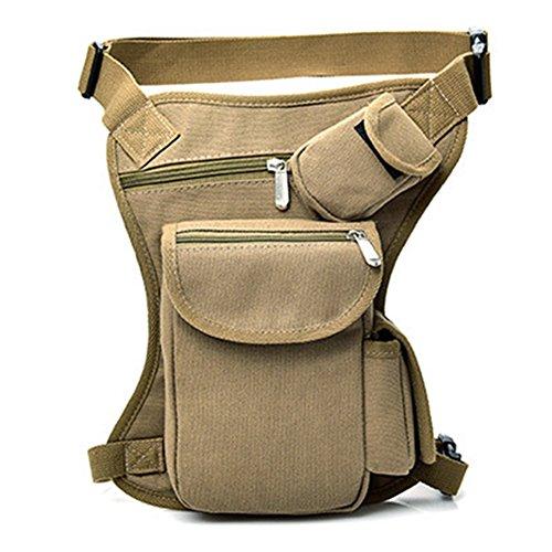 CVERY Bolsa de bolsillo militar para hombre con riñonera y cinturón táctico (Caqui)