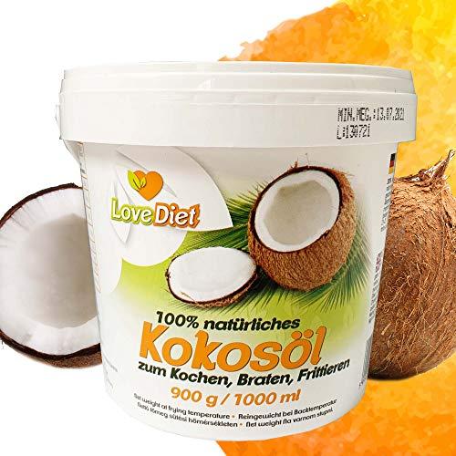 LoveDiet Coconut Oil | Kokosfett | Kokos öl | Kokosnussöl | Geschmacksneutral | Raffiniert und Desodoriert | Kokosöl für Haare und Haut | zum Kochen, Braten und Backen | Kokosöl für Tiere 1000ml