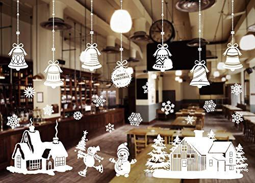 hekpek Pupazzo di Neve di Natale Campana Albero di Natale Immagine per Finestra Decorazione per Vacanze Invernali di Natale Static Wall Sticker PVC Adesivo per Finestre Decorazione per Casa e Negozio