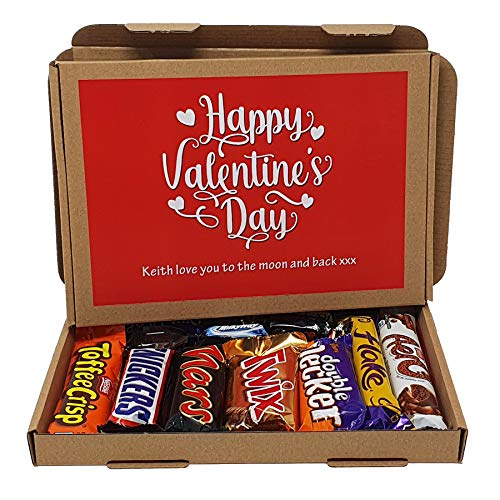 Treasured Forever Personalised Valentines Gifts for Him or Her - Chocolate Selection Gift Box Hamper - An Isolation Lockdown treat - Hug in a box - Gift for all ages (Red - Mixed Chocolate)