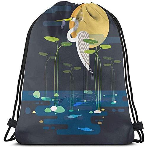 BOUIA Gym Trekkoord tassen, vogel etenswaren vis dode rugzak zak zak gym zak tas voor gym badhanddoeken opbergtas