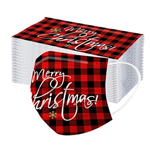 50 PCS Christmas Disposable_Face_Masks for Adults, Red Plaid Snowflakes Pattern- 3-ply Safety Non-Woven Fabric Elastic Ear Loops - Protects from Dust, Pollen, Pet Dander,Other Irritants (Merry Xmas)