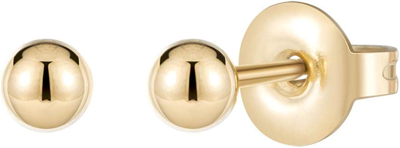 Lcherry Dainty Stud Earrings Tiny Heart Circle Bar Stud Earrings for Women Set Ear 14K Real Gold Plated