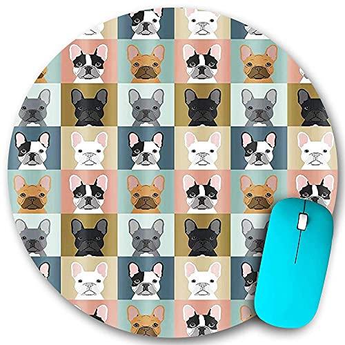 N\A Tappetino per Mouse Rotondo in Gomma Antiscivolo con Bordi cuciti, Tema Animale del Bulldog Francese, Tappetino per Mouse Impermeabile e Durevole, Desktop da Ufficio, personalità 7.9 'x7.9'