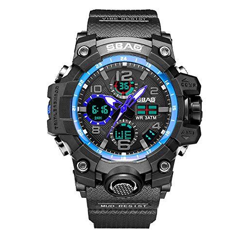 HDUFGJ SBAO Sportuhr Herren Digital LED Elektronische Uhren TPU Quarz Armbanduhren (B)