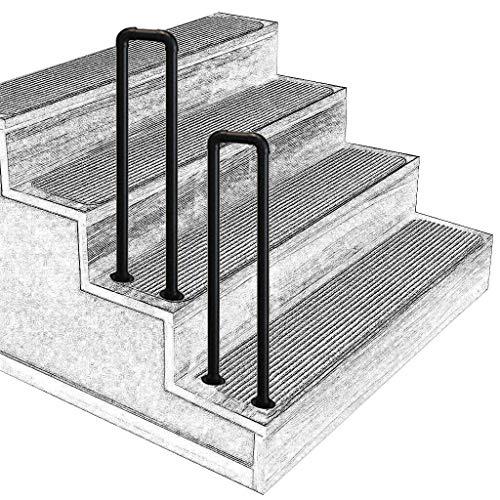 LYMHGHJ Außenstufen Handlauf Bogen für Garten Korridor Balkon Für 1 Schritt e Schwarzes Treppengeländer Schmiedeeisen mit Installationskit
