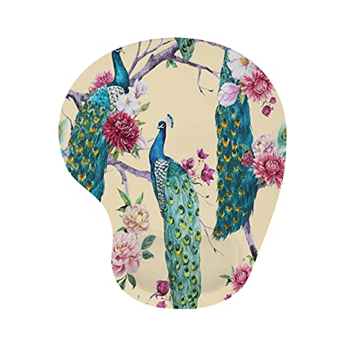 COFEIYISI Mouse Pad with Wrist Rest Support,Watercolor Peacock Sitting on a Tree with Pink Flower, Chrysanthemum Flower, Bougainvillea, White Magnolia, Peony,Ergonomic Mousepad Mouse Pads