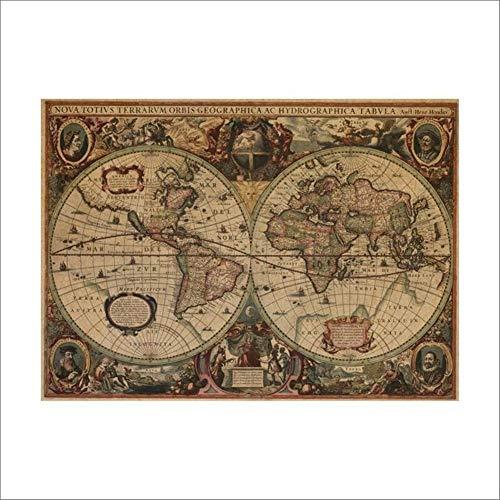 MRJG Raumdekoration Antike Seekarten Vintage-Kraft Paper Poster-Wand-Aufkleber-Raum-Dekoration Abziehbild Globale Karten-Wandkunst