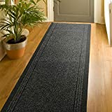 Bravich Charcoal Grey Rubber Backed Non Slip Machine Washable Very Long Hallway Hall Runner | Custom Length | Home And Commercial Use | Durable Made To Measure2'2 x6'FT (66x183cm)