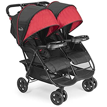 Kolcraft Cloud Plus Lightweight Double Stroller with Reclining Seats & Extendable Canopies Red/Black