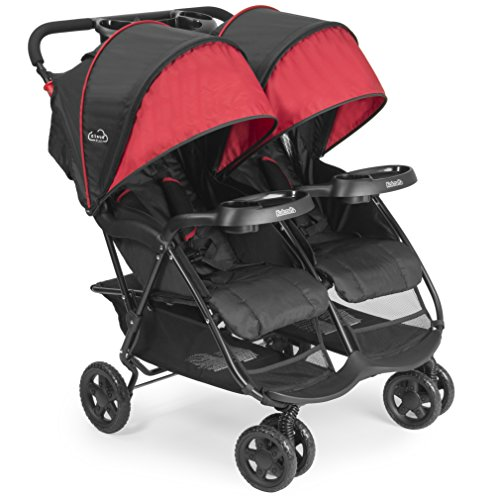 Great Deal! Kolcraft Cloud Plus Lightweight Double Stroller - 5-Point Safety System, Red/Black