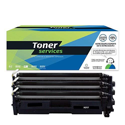 Toner Services CF217A - Lote de 3 cartuchos de tóner compatibles con HP 17A, color negro