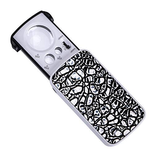 Delixike Taschenlupe mit LED, 30 x 60 x 90 x Vergrößerung