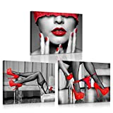iKNOW FOTO 3 Piece Black and Red Canvas Prints High Heel Fashion Shoes Digital Canvas Art Print Sexy Woman Lips and Legs Poster Framed Art Work Stretched Ready to Hang for Hotel Bedroom Walls 12x16x3