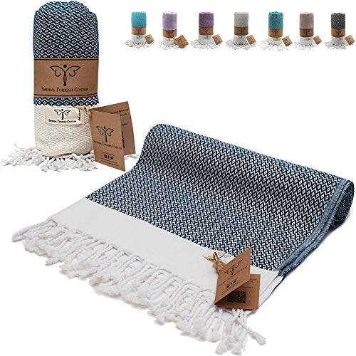 Smyrna Original Turkish Beach Towel Cotton, Prewashed, 37 x 71 Inches | Peshtemal and Turkish Bath Towel for SPA, Beach, Pool, Gym and Bathroom (Navy Blue)