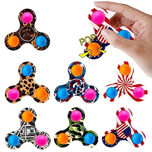 Abodhu Fidget Spinner Pop Toys 7 Pack, Push Popper Pop Bubble Simple Pop Fidget Toy Set, Party Favor Sensory Fidget Pack Bulk Kit Box, Popping Hand Spinners, Stress Relief for Kids