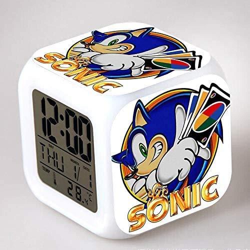 N/Z regalo de cumpleaños Sonic Colorido Color Ing-color Reloj de Alarma Led Quad Reloj de los Niños Regalo Creativo Pequeño Despertador 1,25 Adecuado para los niños