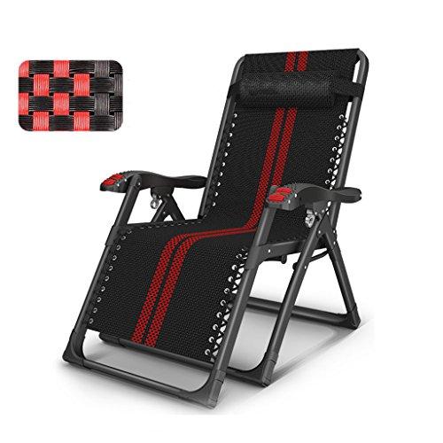 Chaises pliantes Chaise longue pliante chaise simple lit paresseux dos confort plage chaise (Color : Black)