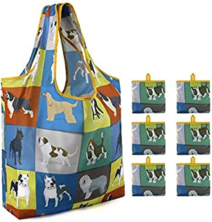 Foldable Reusable Shopping Bags Washable 6 Pack X-Large 50LBS Cute Dog Design Grocery Bags With Pouch Lightweight Durable Ripstop Fabric
