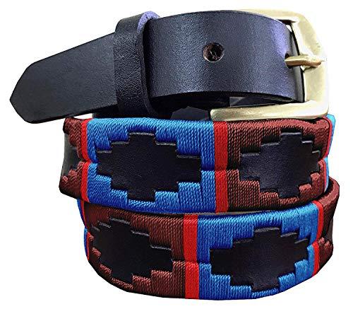 CARLOS DIAZ Dünner Herren Damen Unisex Braunes Leder Bestickt Polo Gürtel (100 cm/ 36 Inches)