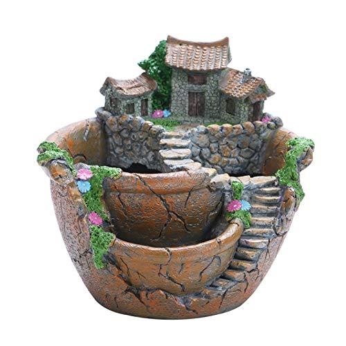 MJJCY Succulent Plants Planter Flowerpot Resin Flower Pot Desktop Potted Holder Home Garden Decoration Plants Holder (Color : B 175x170mm)