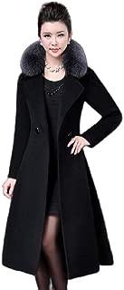 neveraway Womens Turn-Down Collar Slim Coat Long Belts Fleece Jacket Overcoat