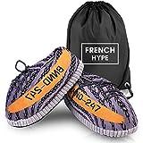 FRENCH HYPE - Zapatillas deportivas para hombre y mujer, diseño de zapatillas de estilo Yeezy en 3 colores (talla única 36 a 43), Gris (gris), 43 1/9 EU Large