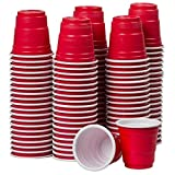 Disposable Shot Glasses - Mini Red Party Cups - 120 Count 2 Ounce - Plastic Shot Cups - Jello Shots - Jager Bomb - Beer Pong - Perfect Size for Serving Condiments, Snacks, Samples and Tastings
