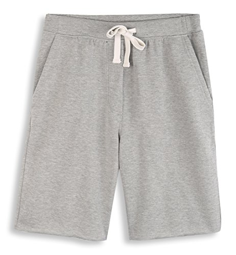 HARBETH Men's Casual Soft Cotton Elastic Fleece Jogger Gym Active Pocket Shorts Heather Gray L