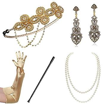 BABEYOND 1920s Flapper Accessories Gatsby Costume Accessories Set 20s Flapper Headband Pearl Necklace Gloves Cigarette Holder  Set-120
