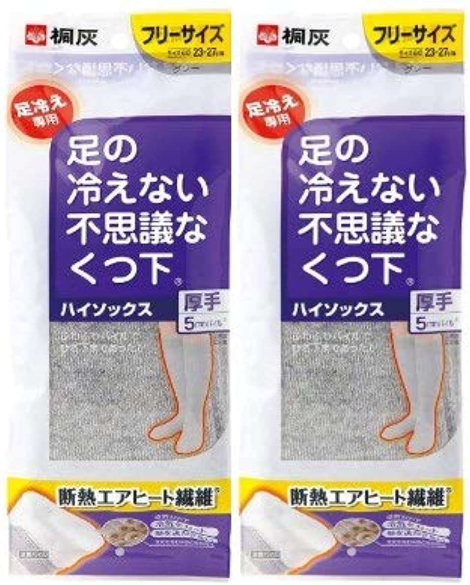 迷惑測定可能腹【まとめ買い】桐灰化学 足の冷えない不思議なくつ下 ハイソックス 厚手 足冷え専用 フリーサイズ グレー 1足分(2個入)×2個セット