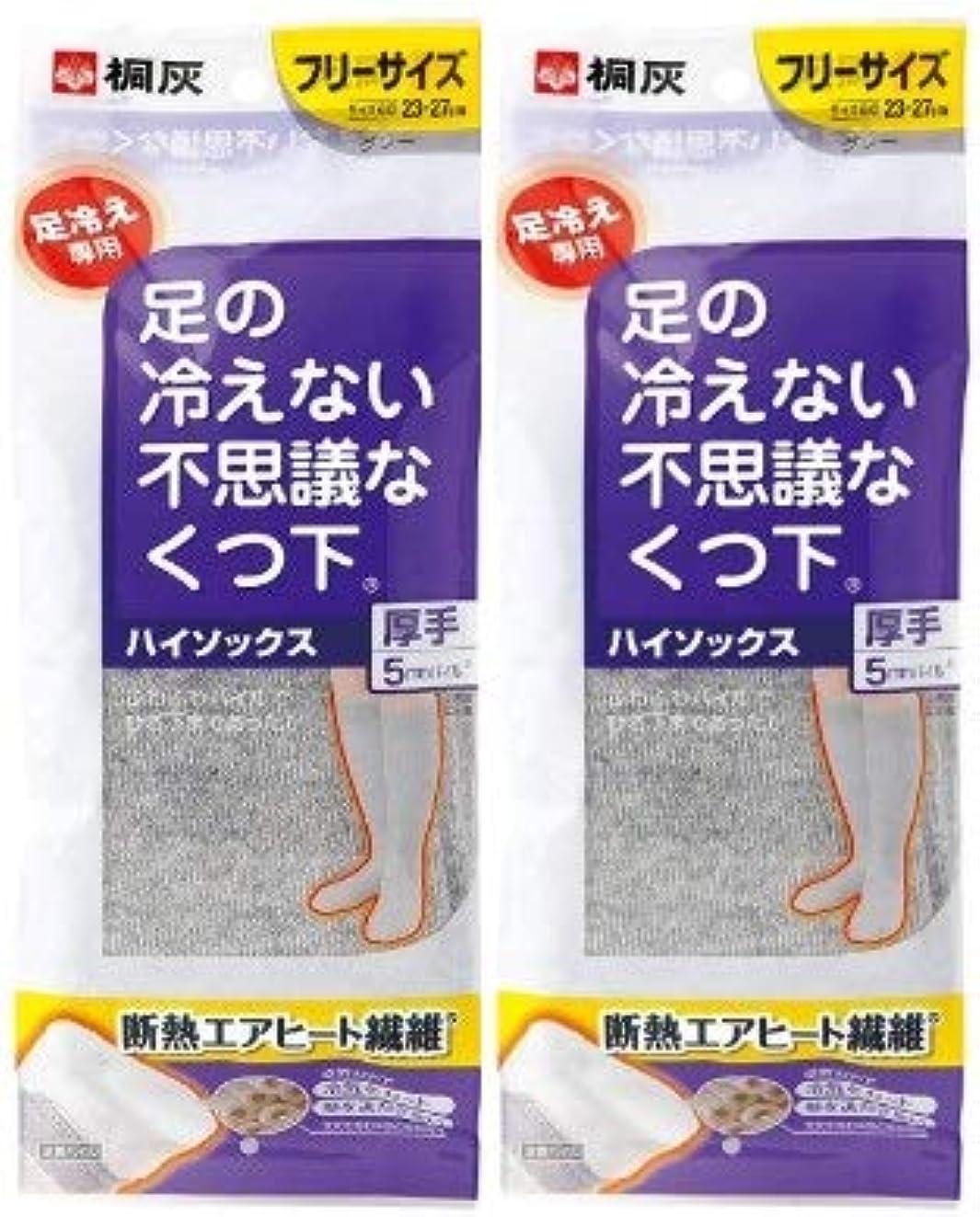 させる未接続順番【まとめ買い】桐灰化学 足の冷えない不思議なくつ下 ハイソックス 厚手 足冷え専用 フリーサイズ グレー 1足分(2個入)×2個セット