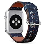Compatible with Apple Watch Series 5, 4, 3, 2, 1 (Big Version 42/44 mm) Leather Wristband Bracelet Replacement Accessory Band + Adapters - Nautical Theme Blue