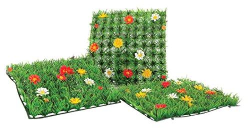 E-line Mattonella Erba Artificiale con Fiori, Ideale vetrine e casa, 25x25 cm