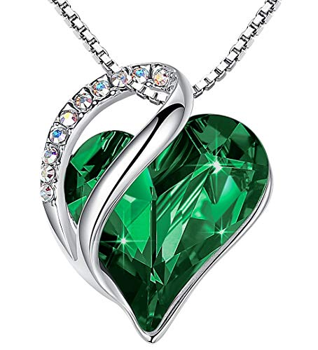Leafael Infinity Love Heart Pendant Necklace Emerald Green May Birthstone Crystal Jewelry Gifts for Women, Silver-Tone, 18'+2'